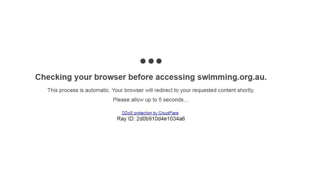 The message that greets visitors to the Swimming Australia website