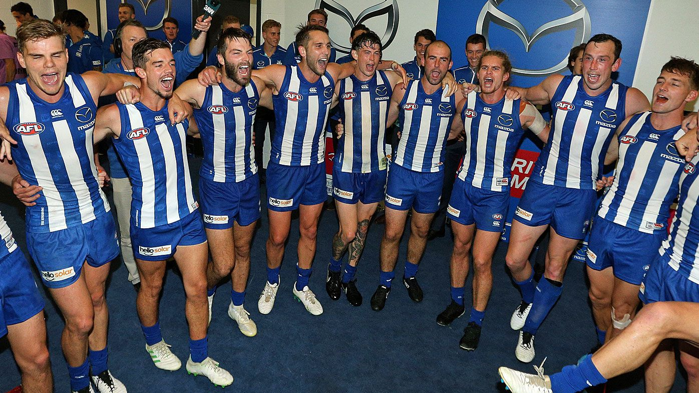North Melbourne Knagaroos celebrate the win