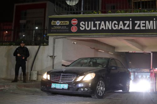 The diplomatic car of Saudi consulate was search by forensic police officers during investigations into the murder.