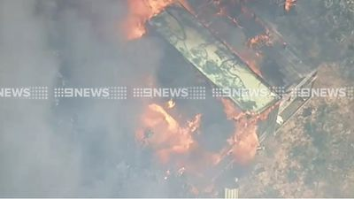 Another home was destroyed by fire at Wensleydale, south-west of Geelong, on Monday. (9NEWS)