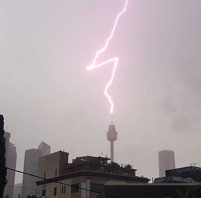Lighting strikes the Sydney tower. (mikejmorrow)