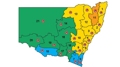 The fire rating for NSW for Wednesday, November 13, is still serious but nowhere near as bad as today's.