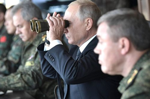 Russian President Vladimir Putin visited the exercises staged close to the Chinese border.