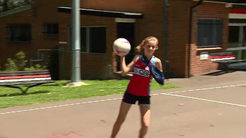 Harriet is already getting back to playing netball.
