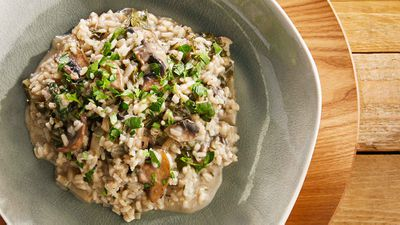 """Recipe: <a href=""""http://kitchen.nine.com.au/2017/07/03/10/48/poh-mushroom-and-spinach-risotto"""" target=""""_top"""">Poh's mushroom and spinach risotto</a><br /> <br /> More: <a href=""""http://kitchen.nine.com.au/2016/06/06/21/47/vegetarian-favourites-for-meatfreemonday/2"""" target=""""_top"""">meat-free recipes</a>"""