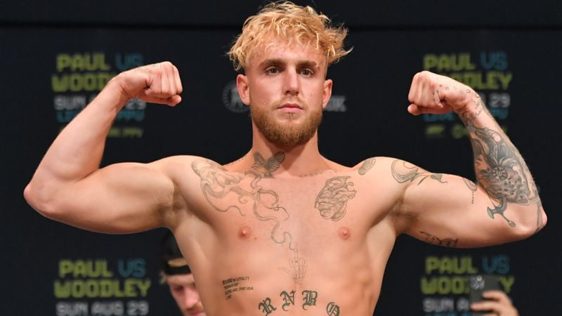 CLEVELAND, OHIO - AUGUST 28: Jake Paul poses during the weigh in event at the State Theater prior to his August 29 fight against Tyron Woodley on August 28, 2021 in Cleveland, Ohio. (Photo by Jason Miller/Getty Images)