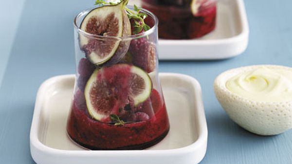 Figs in iced raspberry and thyme compote