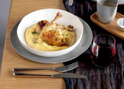 Roast chicken with polenta and wild mushroom sauce