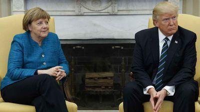 Angela Merkel and Donald Trump. (AAP)