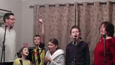 Marsh family performing their Les Miserable parody song