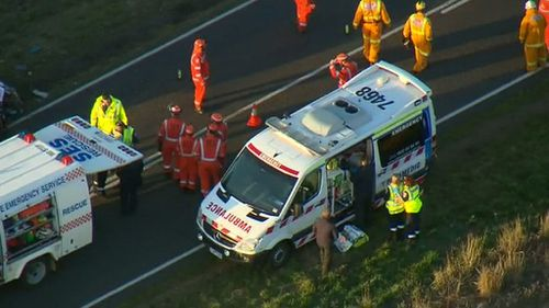 SES crews were required to cut one of the injured men free. (9NEWS)