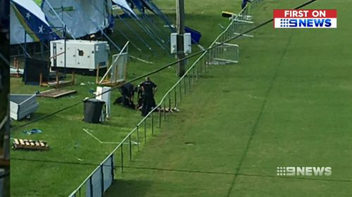 A police dog tracked down the offender at Mount Gravatt Show Grounds, where he was later arrested. (9NEWS)