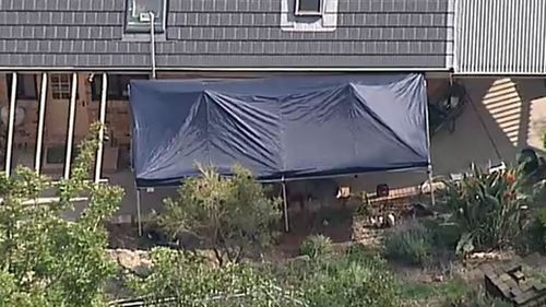 A tent has been erected over soil at the side of the house.