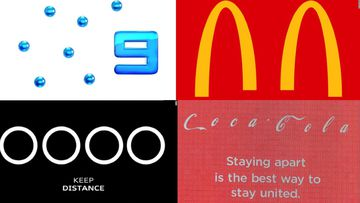 Channel 9, McDonald's, Coca-Cola and Audi are just a few of the brands that have altered logos to encourage social distancing amid the coronavirus pandemic.