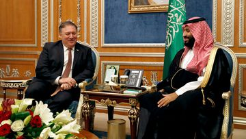US Secretary of State Mike Pompeo meets with the Saudi Crown Prince Mohammed bin Salman in Riyadh, Saudi Arabia.
