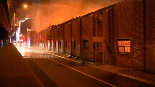 The fire is near the iconic Nylex neon sign. (9NEWS)