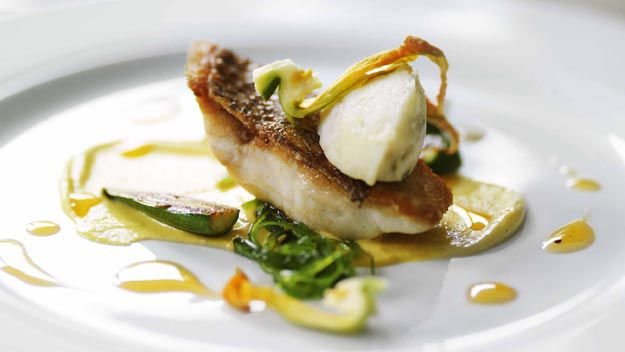 Snapper, sweetcorn and seaweed with prawn brandade