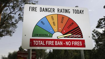 A catastrophic fire danger rating sign seen near Marcoota, NSW. The RFS has issued a catastrophic fire danger warning for the Greater Sydney region for today. fedpol Photo: Alex Ellinghausen Tuesday 12 November 2019.