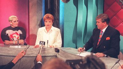 Jeannie Little on the set of Beauty and the Beast (left) with Pauline Hanson (centre) and Stan Zemanek (right) in January 1997
