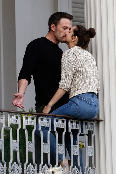 Ben Affleck and Ana de Armas kiss during a break in filming on the set of their new psychological erotic thriller on November 19, 2020 in New Orleans, Louisiana.