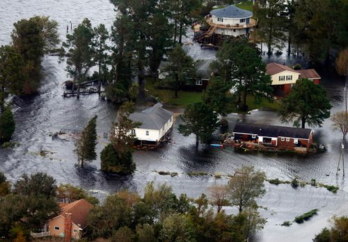 Homes are flooded along the Neuse River after hurricane Florence came through the area in New Bern, North Carolina.
