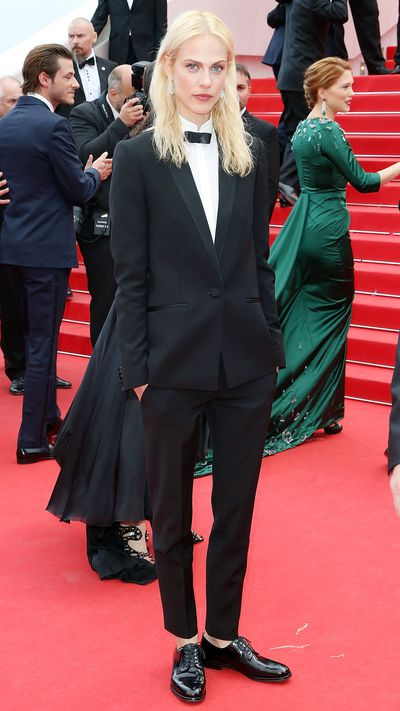 <p>Valade sets the bar for tux wearing in a cropped Saint Laurent Le Smoking suit during the 2014 Cannes Film Festival.</p>