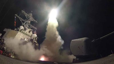 A US Navy vessel fires a Tomahawk missile. (AAP)