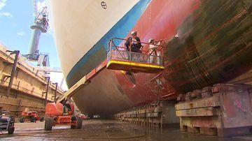 Inside Sydney Harbour's 230-million-litre dry dock