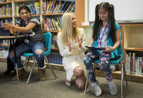 Ms Trump paid visit to the school yesterday to examine the district's use of technology.