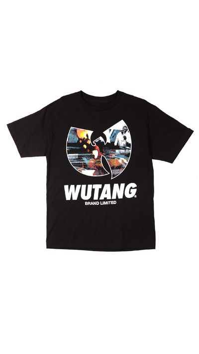 """<a href=""""http://shop.wutangclan.com/collections/tees/products/w-distortion-tee-in-black?variant=3746728257"""" target=""""_blank"""">T-shirt, approx. $68, Wu Tang Brand Limited</a>"""