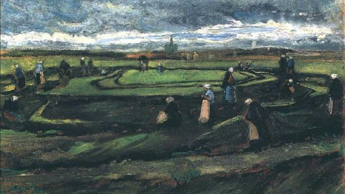 Women Mending Nets in the Dunes by Vincent Van Gogh.