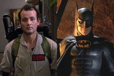 "Bill Murray almost portrayed a campy Adam West style Batman for <i>Tim Burton</i>'s 1989 flick <i>Batman</i>.<br/><br/>""I would have been a fine Batman,"" he told <i>MTV</i>. ""You know, there have been a number of Batmen. I like them … I thought Mike Keaton did a great job as Batman. It's obviously… it's a great role.""<br/><br/>Left: Bill Murray in <i>Ghostbusters</i> / Columbia Pictures. Right: Michael Keaton as Batman / Warner Bros<br/>"