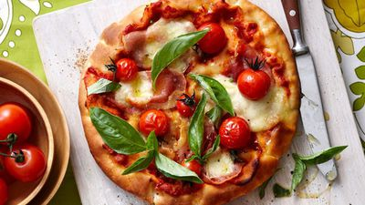 """Recipe: <a href=""""http://kitchen.nine.com.au/2016/05/16/12/57/barbecued-flatbread-pizzas"""" target=""""_top"""">Barbecued flatbread pizzas</a>"""