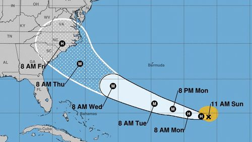 National Oceanic and Atmospheric Administration data shows the storm center of hurricane Florence. According to reports, Florence is expected to strengthen to a category four hurricane and impact the east coast of the US between 13 and 14 September.