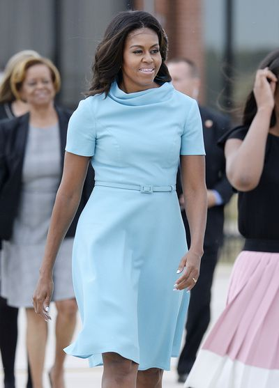 Michelle Obama in Carolina Herrera to greet Pope Francis at the White House