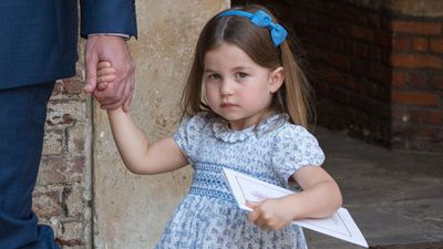 Princess Charlotte at the christening of Prince Louis, July 2018