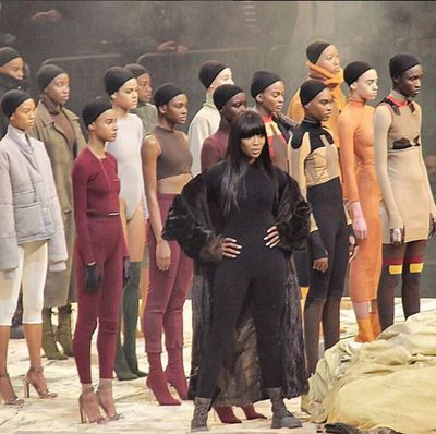 Naomi Campbell fronted the model brigade.