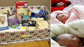 The baby box distributed by the University of Calgary (left), and some babies (right). (AAP)