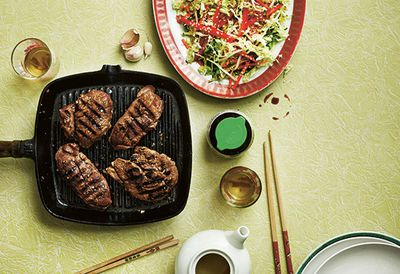 Chinese lamb steak with cabbage