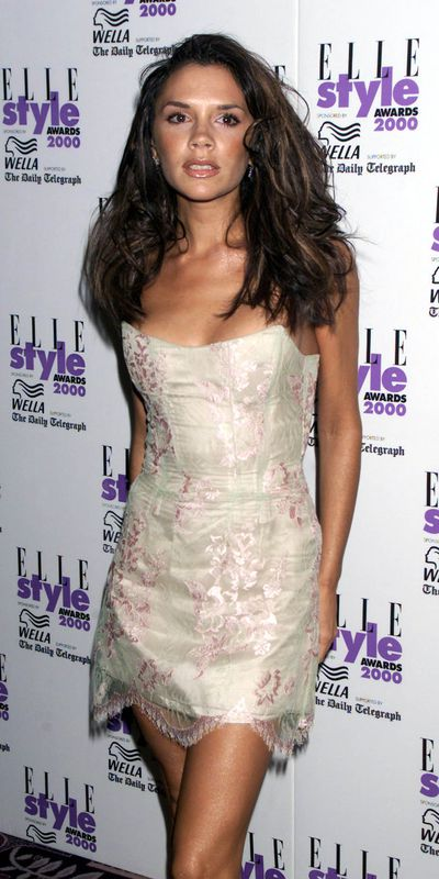 Big hair don't care. Victoria Beckham at the UK Elle Style Awards in London, July 2000