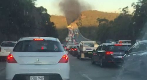 Traffic was banked up to 5km. Image: 9News