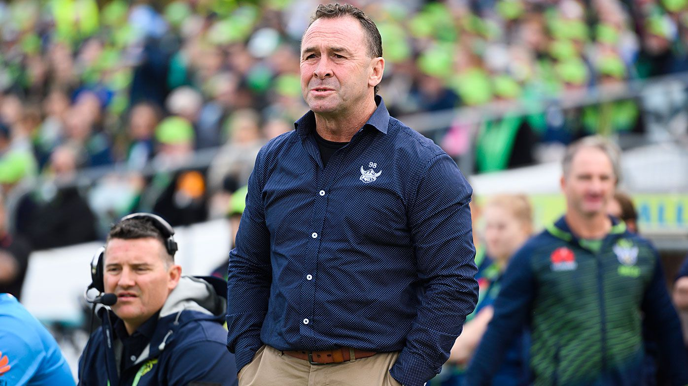 Ricky Stuart watches the Canberra Raiders on the sidelines