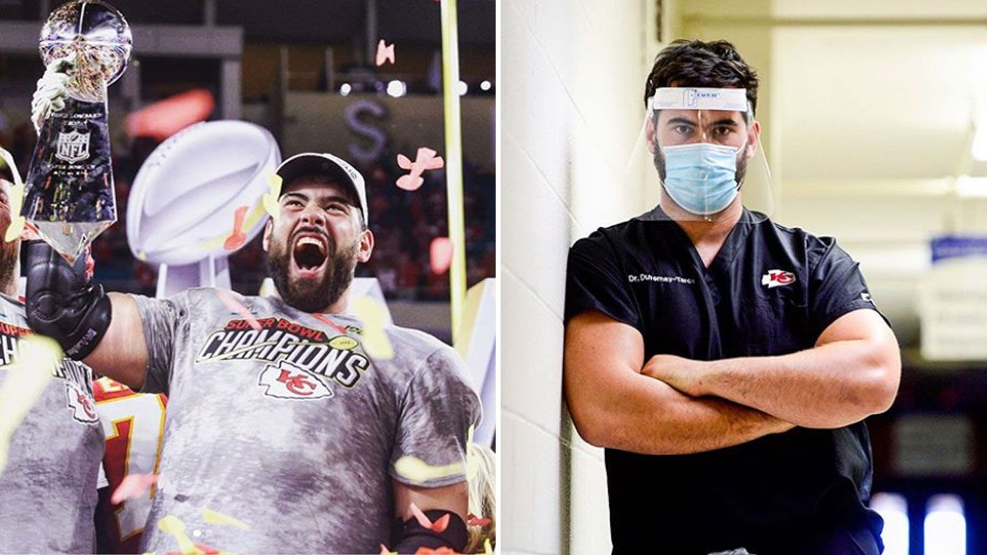 Super Bowl-winning NFL player and doctor Laurent Duvernay-Tardif working in a hospital during coronavirus pandemic
