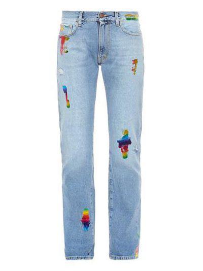 "<a href=""http: www.matchesfashion.com="" ""="""" product="""" 1009169""="""">Simon Rainbow-foil boyfriend jeans, $390, Aries </a>"