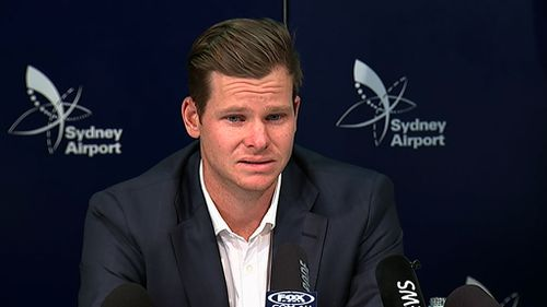 "Former Test captain Steve Smith admitted the ball tampering scandal was a ""failure of leadership"" in a tearful press conference at Sydney Airport."