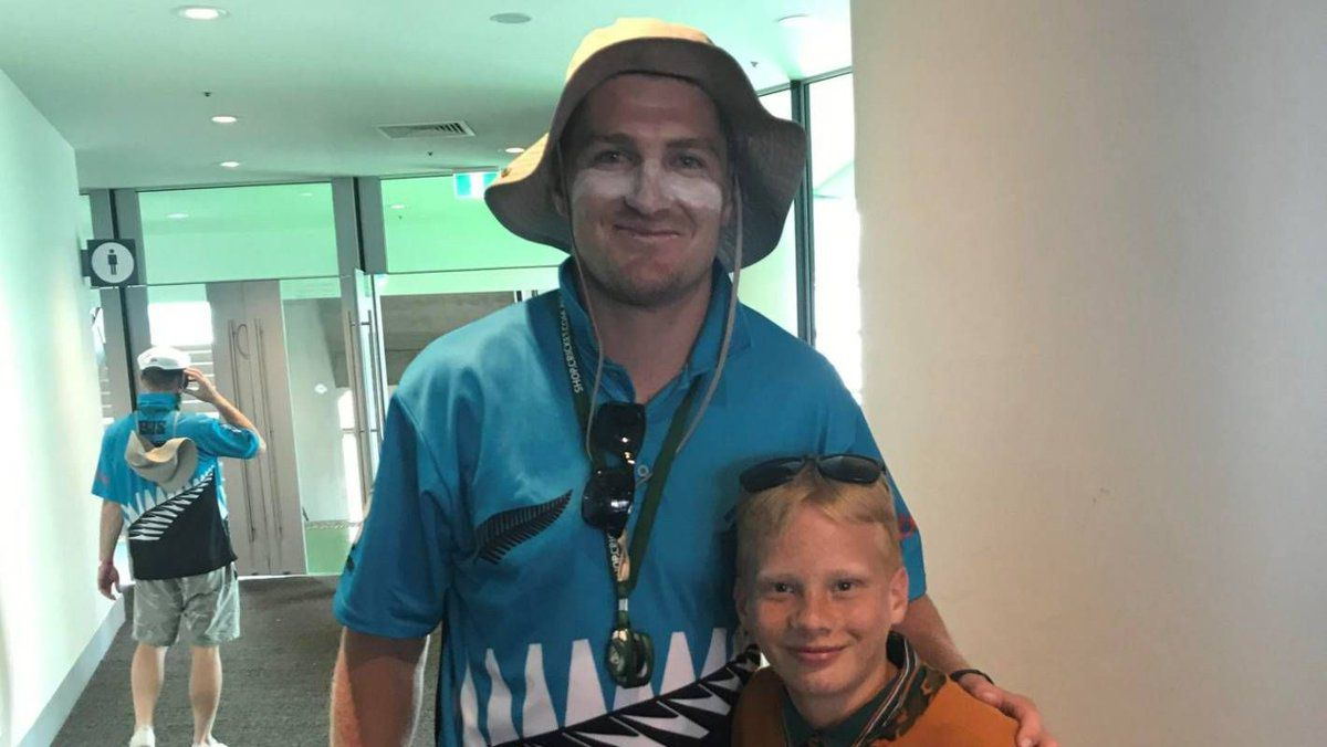 Jordie Barrett with a fan at the Boxing Day Test