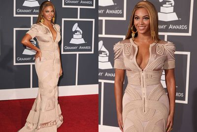 Beyonce woke up <I>in</I> this. Literally. <br/><br/>Yep FIXers, looks like Queen Bey rolled around in her quilted doona, grabbed a few bath towels and rustled up some extra fabric from silk curtains for her 2010 Grammys look. <br/>