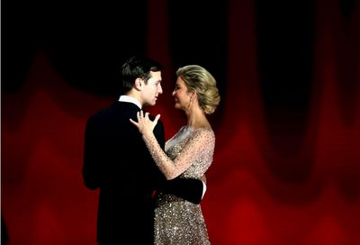 Ivanka's fairy tale gown was an Oscar de la Renta creation, the first of three she wore throughout the festivities. The gown had a fitted bodice with a sweetheart neckline, a full, sweeping skirt and was heavily beaded.