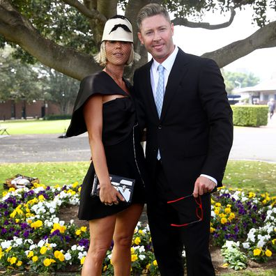 Pip Edwards and Michael Clarke attend Everest Race Day at Royal Randwick Racecourse on October 17, 2020 in Sydney, Australia.
