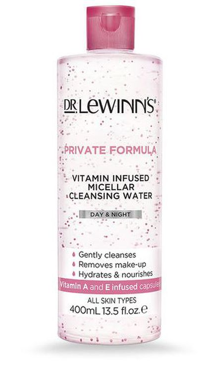 "<p><a href=""https://www.drlewinns.com.au/dr.-lewinn-s/shop-our-products/category/cleansers%2C-toners-and-exfoliants/p/private-formula-vitamin-infused-micellar-water-400ml/74320.html?lang=en_AU"" target=""_blank"" title=""Dr. Lewinn's Private Formula Vitamin Infused Micellar Water 400ml, $16.95"" draggable=""false"">Dr. Lewinn's Private Formula Vitamin Infused Micellar Water 400ml, $16.95</a></p> <p>The skincare gods at Dr. Lewinn's have finally released a micellar water just in time for the warmer months. Give your face a proper cleanse after a hot day at the beach with this unique all-in-one cleanser that is infused with Vitamin A and E infused capsules.</p>"